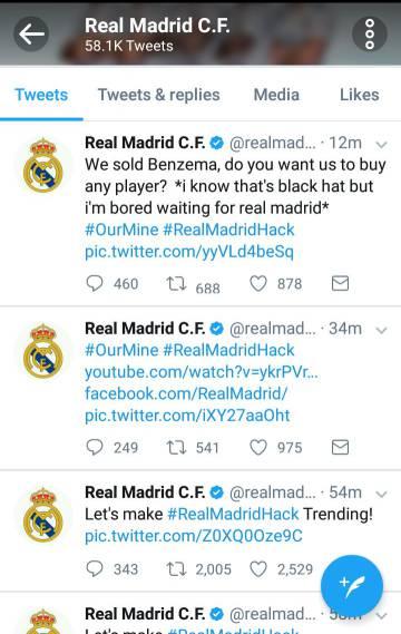 "'Hackeo' del Twitter del Real Madrid: ""Hemos vendido a Benzema. ¿Queréis que fichemos a alguien?"""