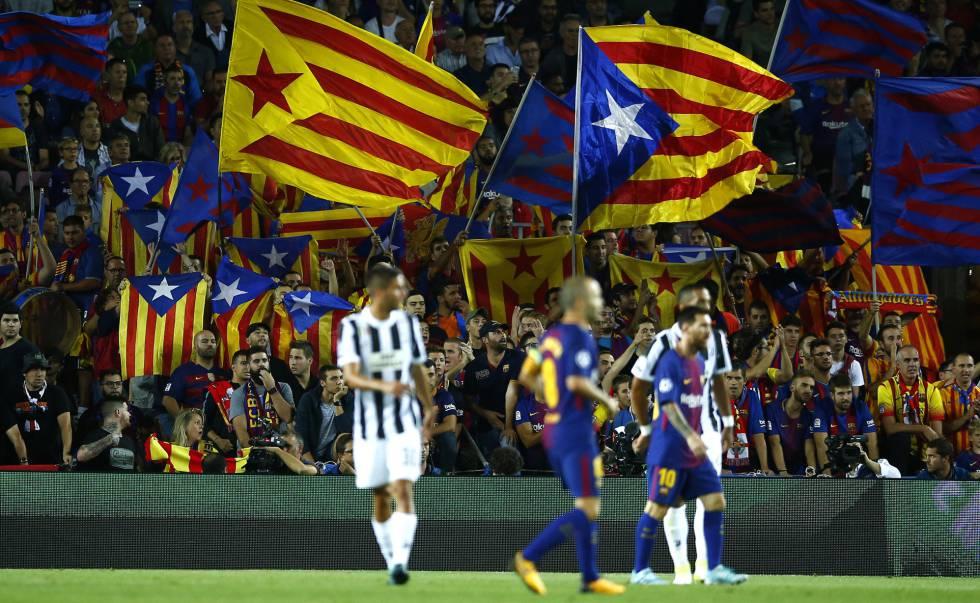 Gradas del Camp Nou en el Barça-Juve de Champions.
