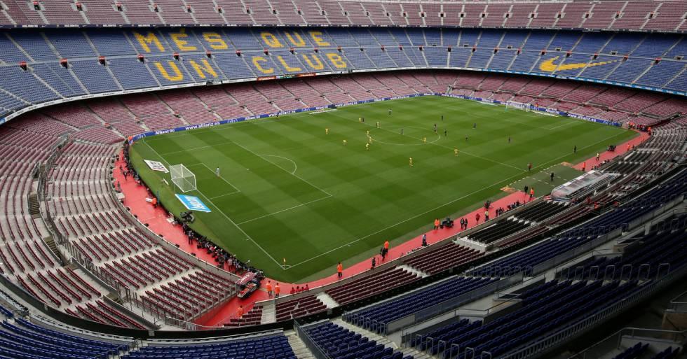 Imagen del Camp Nou vacío durante el partido entre el Barcelona y Las Palmas.