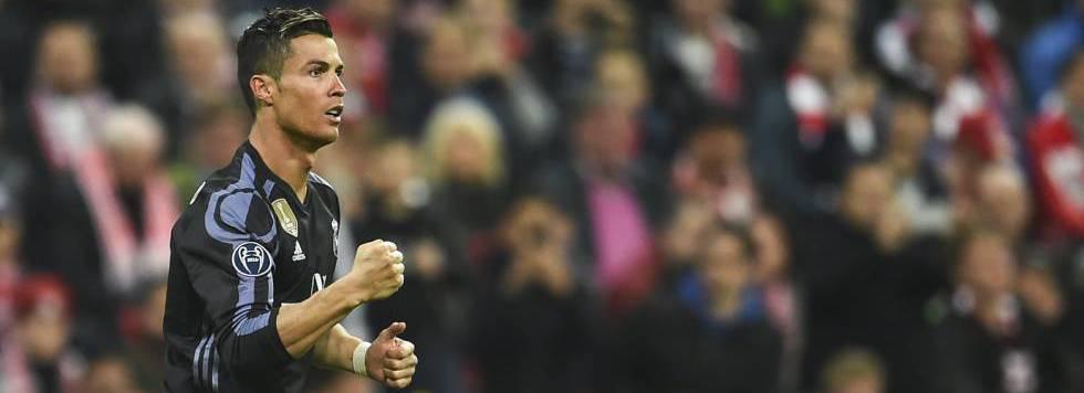 Cristiano celebra su primer gol al Bayern.