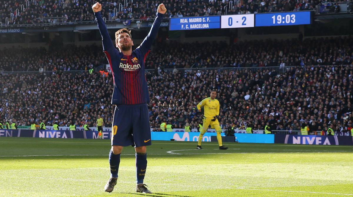 Messi celebra su gol al Real Madrid.