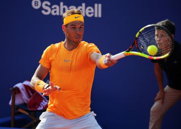 Rafa Nadal wins (6-0, 7-5) versus Martin Klizan during the Barcelona Open Banc Sabadell, on 27th April, in Barcelona, Spain.