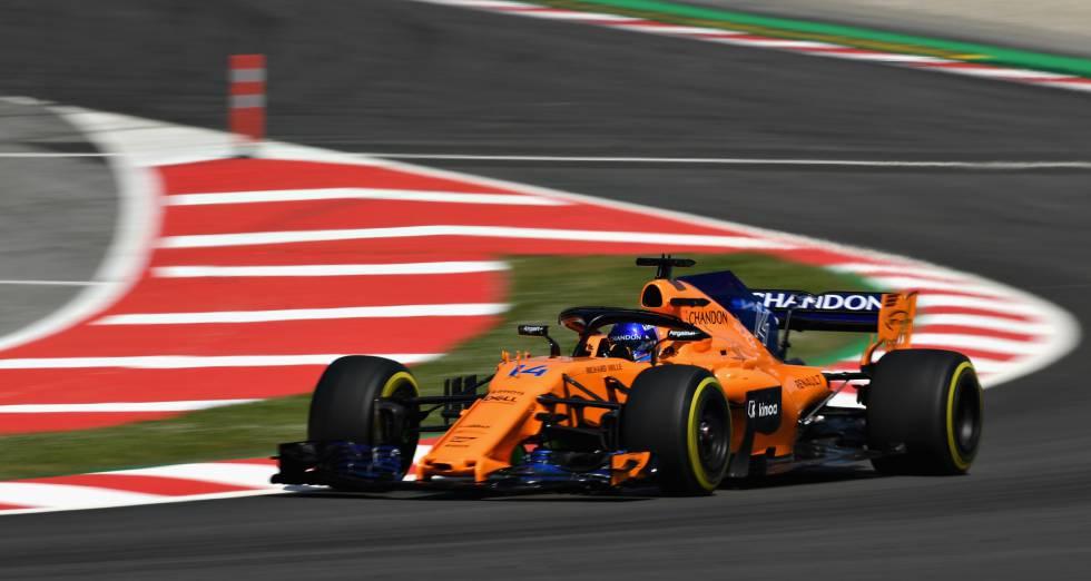 Fernando Alonso, en los primeros libres en Montmeló.