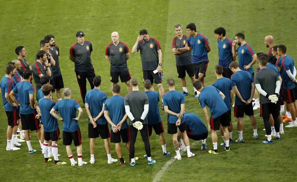 La selección en el entrenamiento antes del partido ante Portugal.