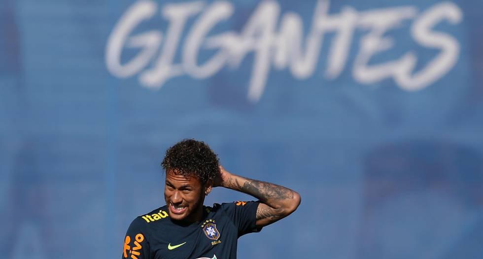 Neymar, en un entrenamiento de esta semana.