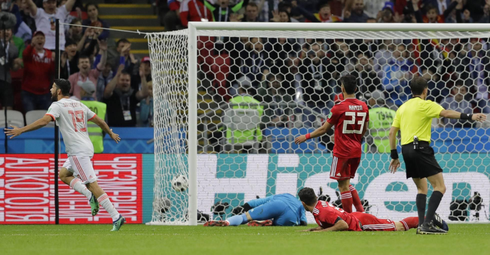 Diego Costa, tras el marca el gol de España SERGEI GRITS AP