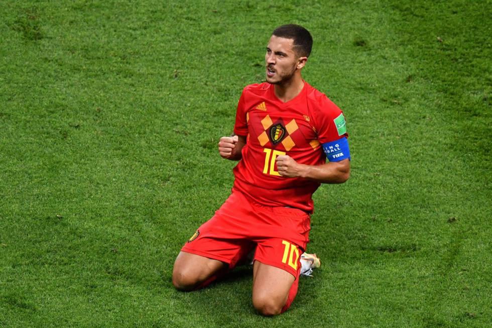 Hazard celebra el triunfo de Bélgica ante Brasil. rn