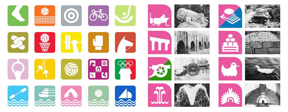 A la izquierda, iconografía de los deportes olímpicos. A la derecha, algunos de los símbolos de la línea 1 del metro de México.