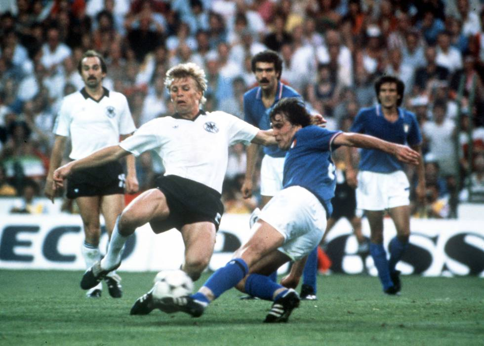 Tardelli, en la acción del segundo gol de Italia en la final del Mundial 82.