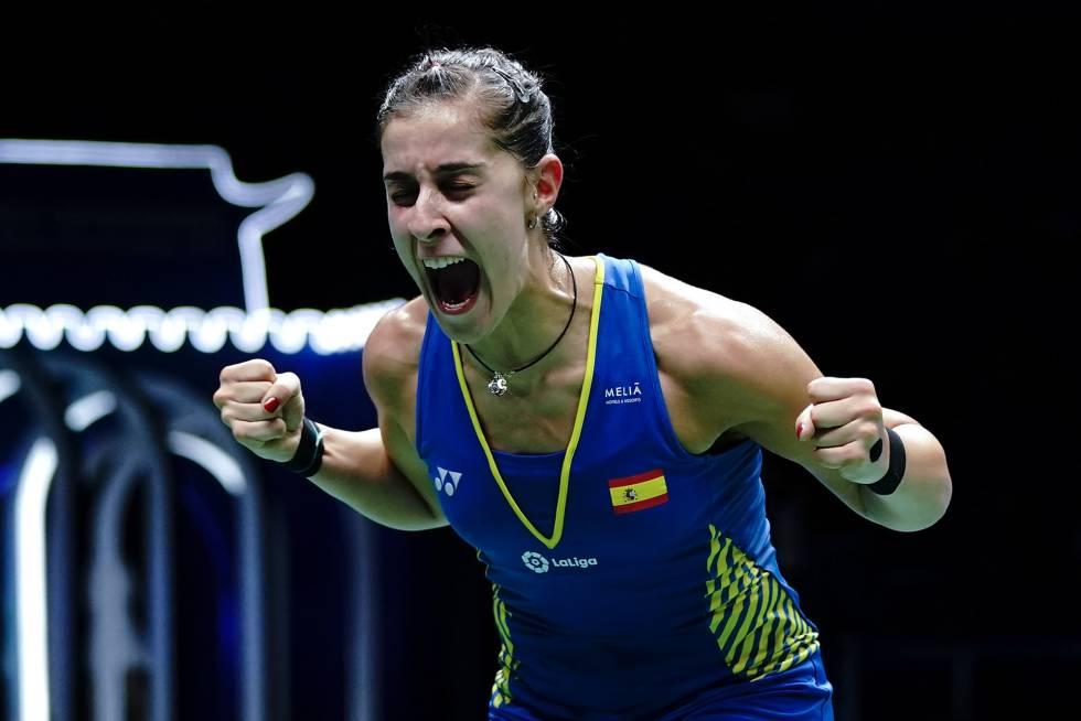 Carolina Marín vocea su victoria en la final del Mundial de 2018.