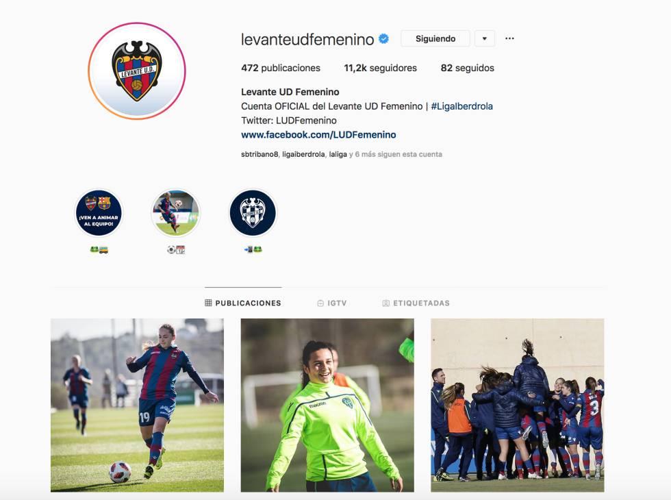 La cuenta de Instagram del Levante UD Femenino.