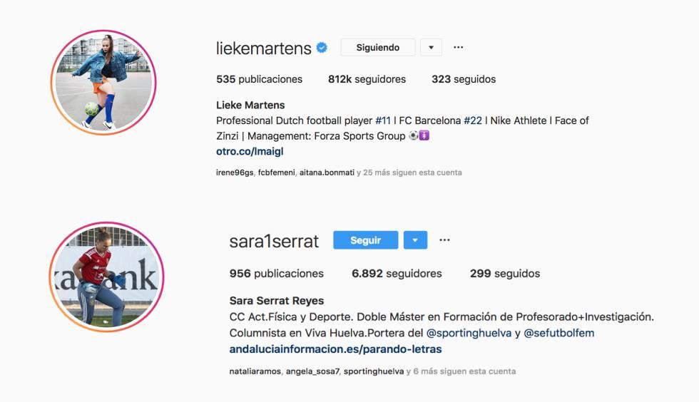 Los perfiles de Instagram de Lieke Martens, la jugadora más popular de la Liga Iberdrola, del Barcelona, y de Sara Serrat, la portera del Sporting Huelva.