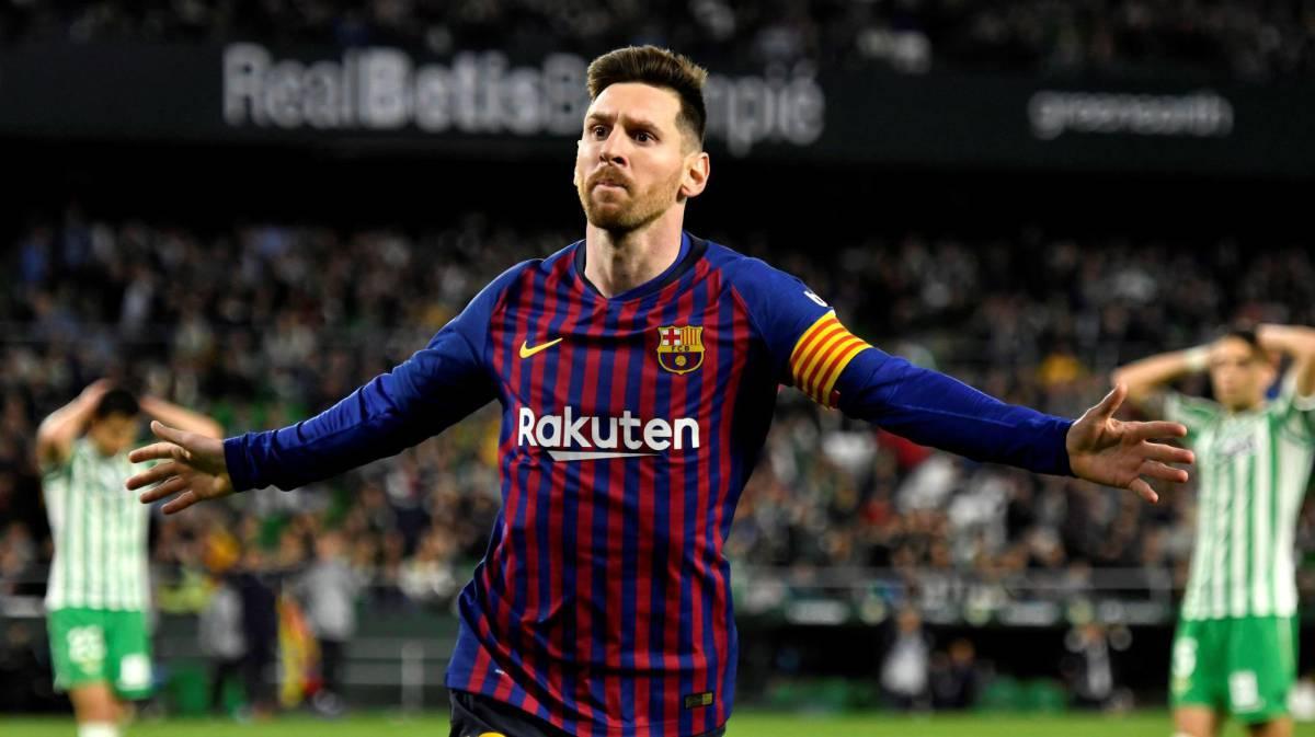 Messi celebra el cuarto gol del Barcelona ante el Betis. 3855f0372b435