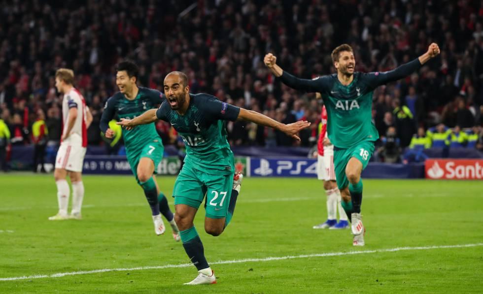 Lucas Moura celebra el gol definitivo del Tottenham.