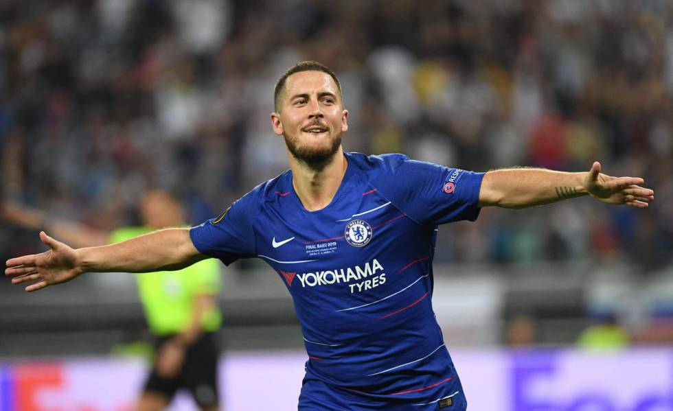 Hazard celebra su primer gol al Arsenal en la final de la Europa League.