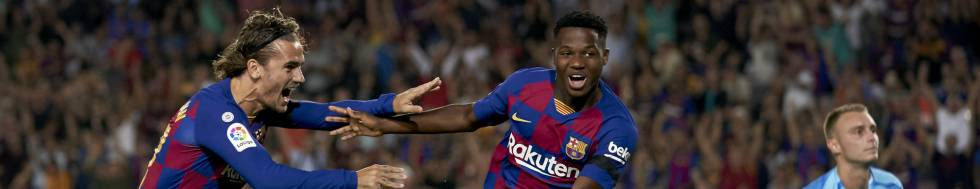 Ansu FAti celebrates his goal against Valencia.