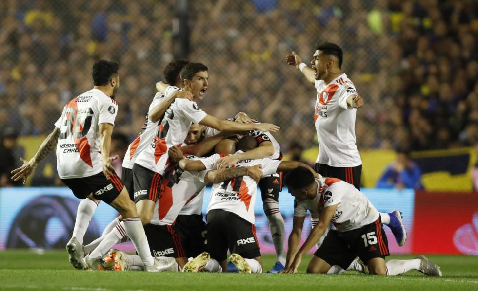 River Plate celebra la clasificación a la final de la Copa Libertadores ante Boca, el pasado 22 de octubre.