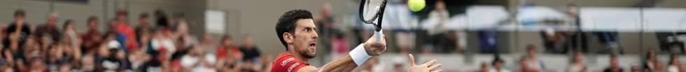 Novak Djokovic, während des Spiels gegen den Chilenen Garin.