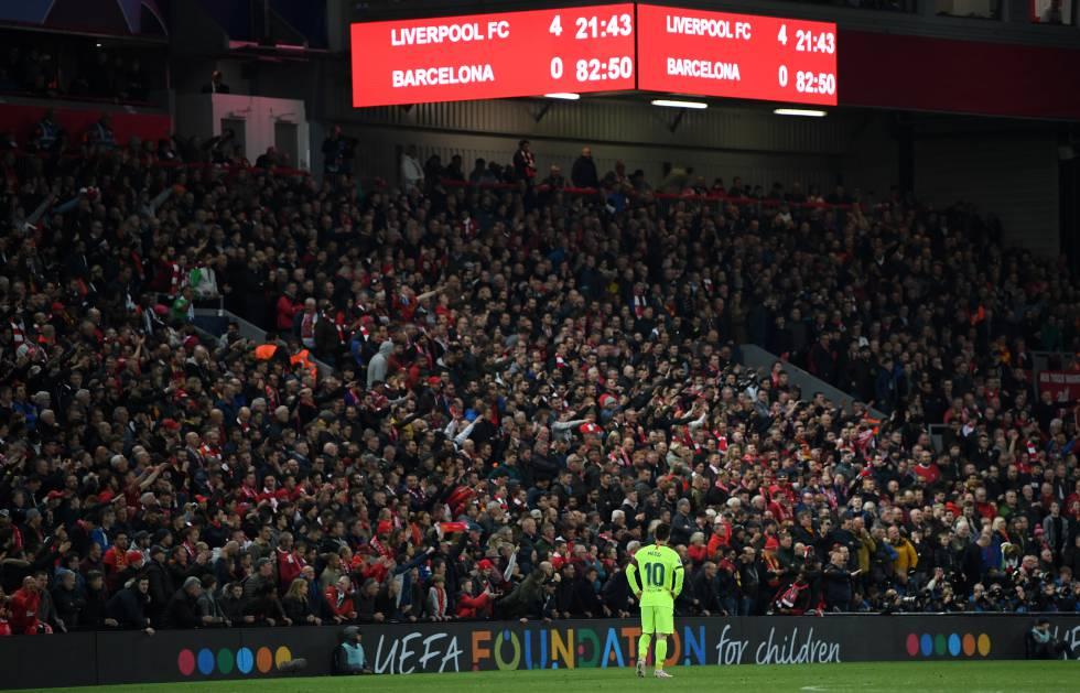 Messi, tras el descalabro de Anfield.