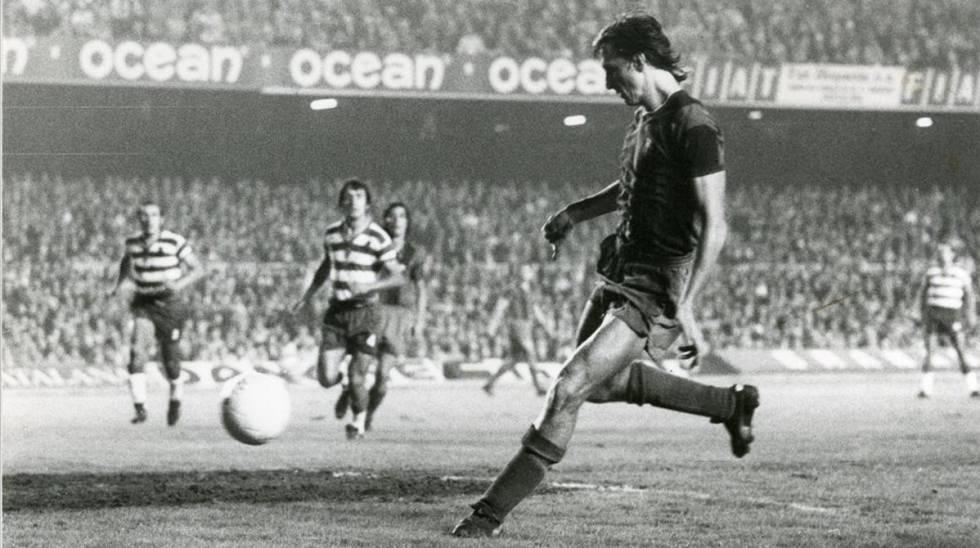 El primer gol de Cruyff en la victoria (4-0) del Barça contra el Granada el día del debut del holandés.