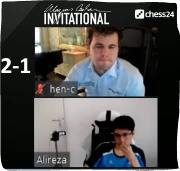 Un momento de la última partida entre Firouzja y Carlsen
