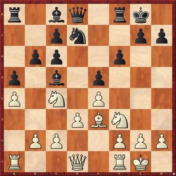 Posición en la que Nakamura cometió el tremendo error posicional 11 h4, con el plan h5-Ch4-Cf5, castigado por Carlsen con la sencilla 11 ...De8