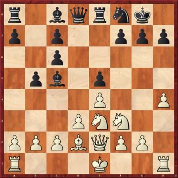 Tras la errónea 11 ...Ce6 de Carlsen, Nakamura jugó 12 Cxe5, con la sutil idea 12 ...Cd4 13 Cxf7 Rxf7 14 Dh5+ y cae el alfil de c5.