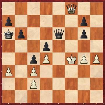 Carlsen, con negras, jugó aquí la magnífica 40 ...g5+, y siguió 41 hxg5 (si 41 Rxg5 Dh6+ 42 Rf5 g6+, ganando) 41 ..De4+ 42 Rg3, y ahora dio el jaque en e1, pero probablemente hubiera ganado tras 42 ..Dxc2, con la idea 43 Df3 Dd3
