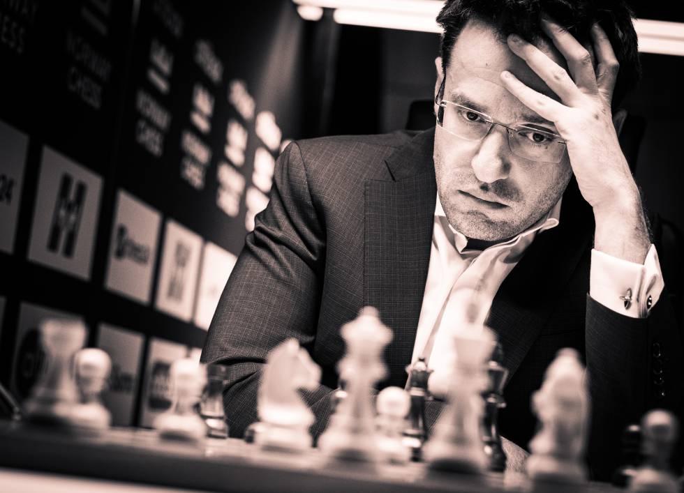 Levón Aronián, durante su partida de hoy ante Carlsen