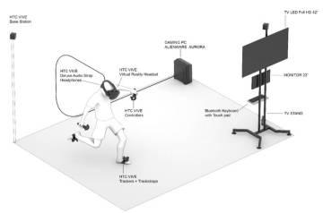 Un boceto para entender cómo funciona el juego de fútbol de realidad virtual de Orwell, la compañía del arquitecto italiano Andrea Antonelli.