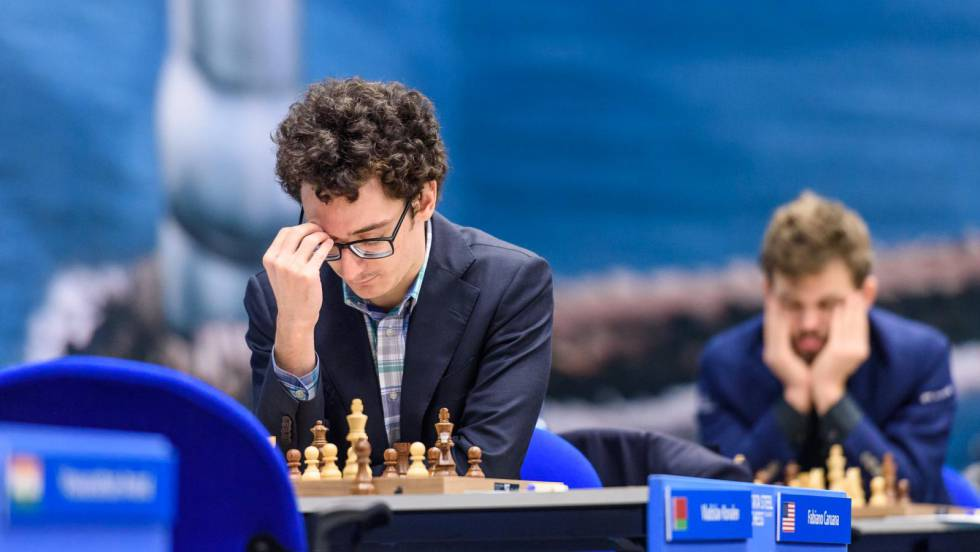 Fabiano Caruana and Magnus Carlsen last January, during the Tata Festival in Wijk aan Zee (Netherlands)