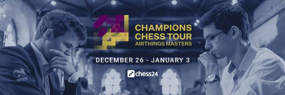 Cartel oficial del torneo, con Carlsen a la izquierda y Giri a la derecha