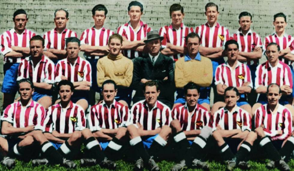 The Atlético de Madrid squad that achieved first place in the championship in the 1940s.