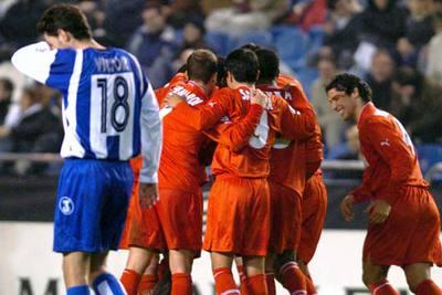 Los jugadores del Mónaco celebran un gol ante el Deportivo.