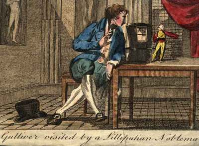 Gulliver visited for a lilliputian nobleman.
