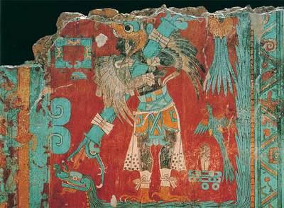 Pintura mural en Cacaxtla (México), de la cultura olmeca