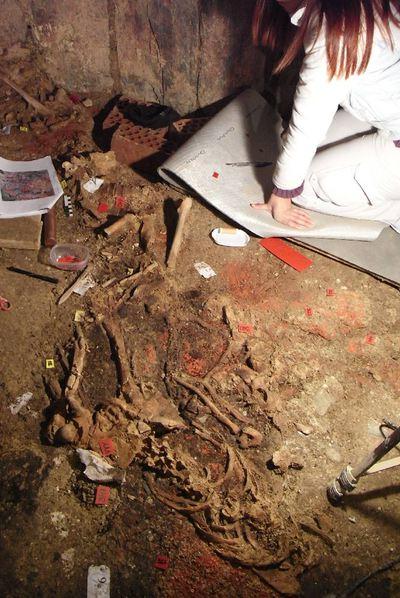 Huesos y pigmentos localizados en la tumba.