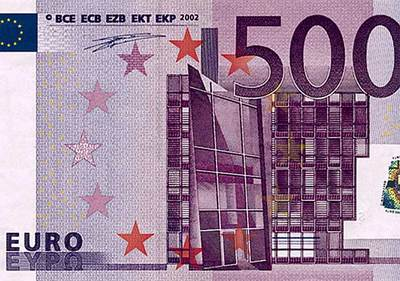 Un billete de 500 euros emitido por el Banco Central Europeo (BCE).