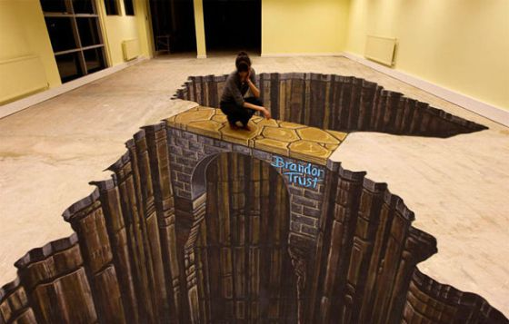 Puente en un enorme precipicio en pleno salón, de Suelo 3D Autonivelante.