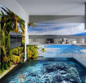 Cocina en la que el pavimento es el fondo marino y los armarios la vegetación de una isla.