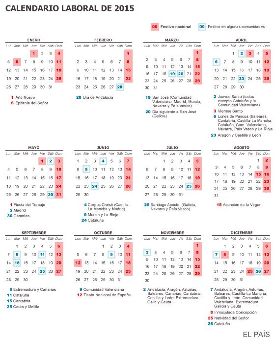 Calendario Laboral Elche.Dias Festivos En Espana El Calendario Laboral De 2015 Fija Un Dia