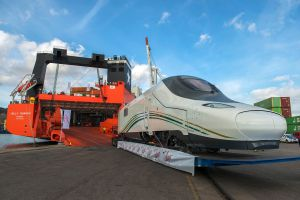 Talgo-manufactured trains destined for Saudi Arabia are loaded at Barcelona's port.
