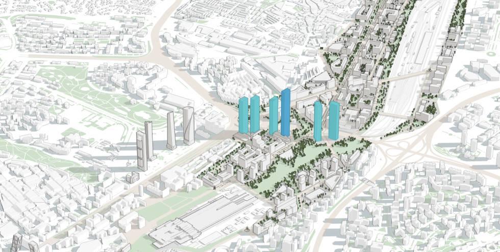 proyecto d elas seis torres nuevas en azul con la ms alta en