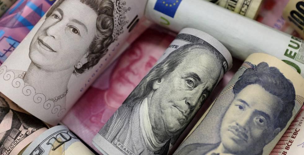 Billetes De Dólares Libras Esterlinas Yen Y Yuanes