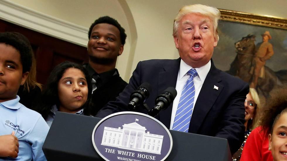 Donald Trump, presidente de los EE UU, este miércoles en la Casa Blanca.