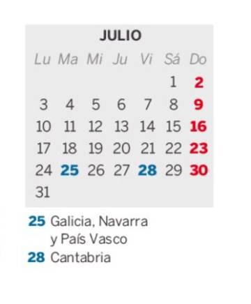 Calendario 2020 Pais Vasco.En Que Comunidades Es Festivo El 25 De Julio Dia De