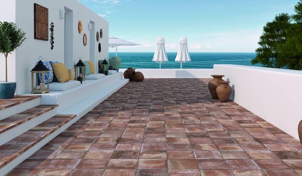Un suelo para vestir la terraza y el jard n econom a el pa s - Baldosas de hormigon para jardin ...