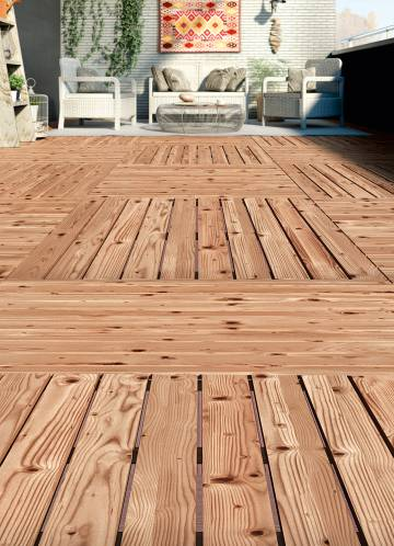 Un suelo para vestir la terraza y el jard n econom a - Suelo madera exterior leroy merlin ...