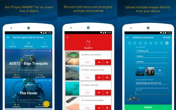 Capturas de Project AWARE Marine Debris App.