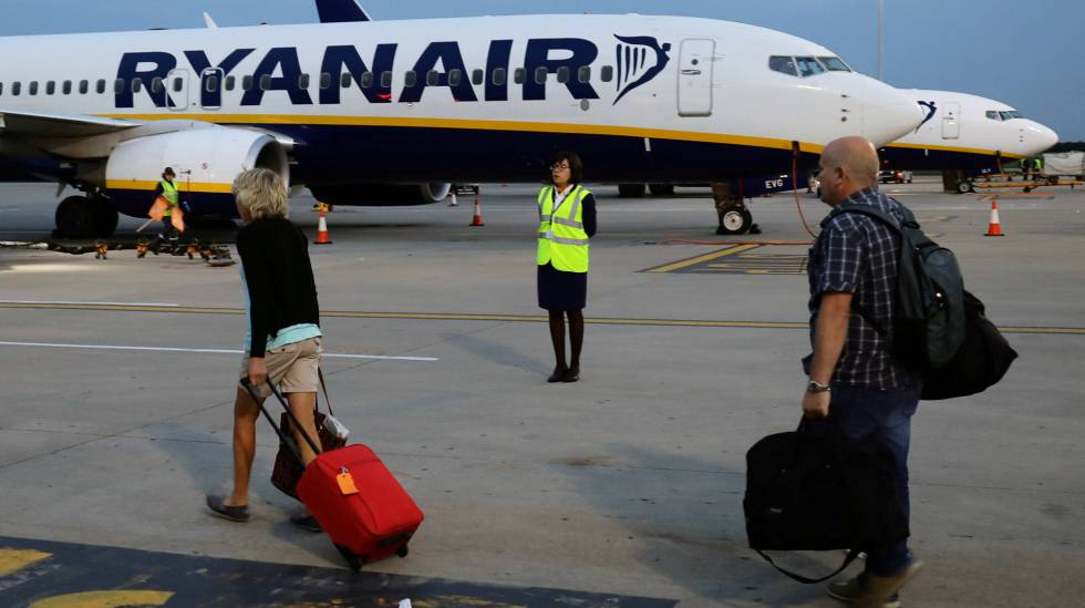 P Engers Board A Ryanair Flight At London Stansted